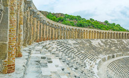 The walk in Aspendos amphitheater Stock Image