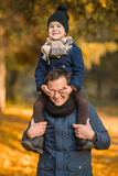 Walk autumn park Stock Images