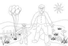 On a walk with baby. My father is from a walk with the child. Coloring book picture and graphics Stock Photo