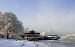 Walk on the bank of the river clear frosty morning. Stock Image