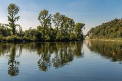 The banks of the River Ruhr near Muelheim, Germany. A walk on the banks of the River Ruhr near Muelheim, Ruhr Area, North Rhine-Westphalia, Germany Royalty Free Stock Photography