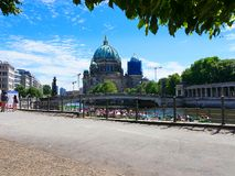 Walk on the banks of the River Spree in the Centre of Berlin royalty free stock photography