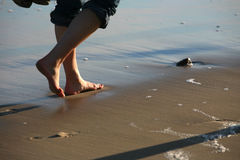 Walk barefoot Royalty Free Stock Photography
