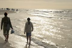 Walk on beach Royalty Free Stock Images