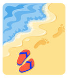 A Walk on the Beach/eps. Illustration of a pair of sandals and footprints in the sand of a beach Royalty Free Stock Photo