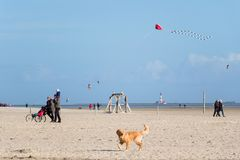 Walk on the beach of St. Peter Ording royalty free stock photos