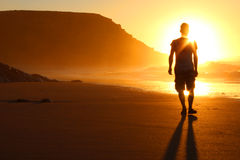 Walk on the beach. Walk on the sunset beach Royalty Free Stock Images