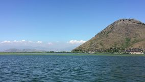 Walk by beautiful lake on boat. Summer day, Blue water. Huge Lake Skadar Montenegro. Largest lake in Montenegro. Trip by stock video footage