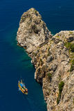 Walk on a beautiful yacht. Walk on a beautiful yacht in Mediterranean sea, Alanya Stock Photo