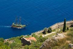 Walk on a beautiful yacht. Walk on a beautiful yacht in Mediterranean sea, Alanya Stock Images