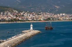 Walk on a beautiful yacht. Walk on a beautiful yacht in Mediterranean sea, Alanya Stock Photography
