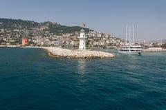 Walk on a beautiful yacht. Walk on a beautiful yacht in Mediterranean sea, Alanya Stock Photos