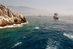 Walk on a beautiful yacht. Walk on a beautiful yacht in Mediterranean sea, Alanya Stock Image