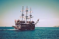 Walk on a beautiful yacht in Mediterranean sea, Alanya, Turkey. Stock Images