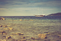 Walk on a beautiful yacht in Mediterranean sea. Montenegro. Royalty Free Stock Photography