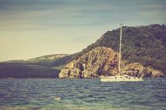 Walk on a beautiful yacht in Mediterranean sea. Montenegro. Stock Photography