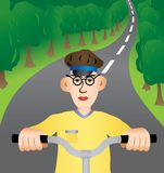 Walk on a bicycle. The young man goes on a bicycle. A vector illustration Stock Illustration