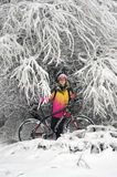 A walk in bicycle  snowfall Royalty Free Stock Photography