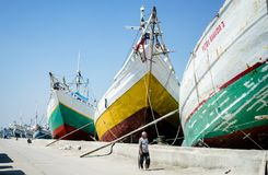 Walk through big traditional ships, Sunda Kelapa Jakarta-Indonesia royalty free stock image