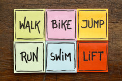 Walk, bike, jump, run, swim, life - fitness concept. Walk, bike, jump, run, swim, life - fitness or cross training concept - handwriting on sticky notes against Royalty Free Stock Photo