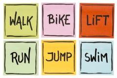 Walk, bike, lift, run, jump, swim - fitness concept. Walk, bike, lift, run, jump, swim - fitness or cross training concept - handwriting on sticky notes  on Stock Photos