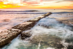 Walk board. Next to atlantic ocean in Cape Town City Royalty Free Stock Images