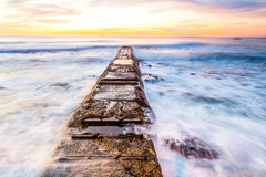 Walk board. Next to atlantic ocean in Cape Town City Stock Photo