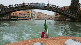 Walk on the boat on the channels of Venice stock footage