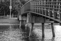 Walk Bridge. A walk bridge leading over Fox River in Southern Wisconsin stock photography