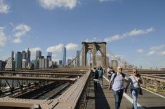Walk on Brooklyn bridge Stock Images