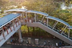 The walk from BTS to Jatujak park. Good travel in Bangkok by sky train save time for visit other place Stock Photos