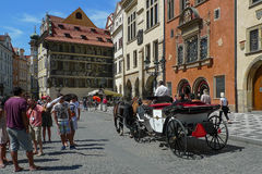 A walk in the carriage through the streets of Prague Stock Image