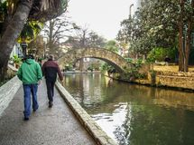 Walk in the center of San Antonio, Texas, U.S.A. Photo taken in winter 2007. San Antonio is crossed by a river where there is an old city and which circulates Stock Photo