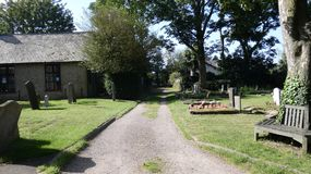 A walk through the church yard on a beautiful summer day stock images