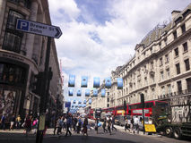 Walk in the city. Busy street in a london street in a summer day Royalty Free Stock Photo