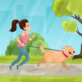Walk in city park vector illustration in flat style. Vector illustration of pretty girl with headphones walking the dog in city park. Flat style design Stock Photos