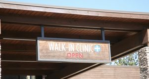 Walk in Clinic. A clinic treats medical situations and see patients without an appointment stock images