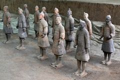 Walk closer to the TerraCotta Warriors in Xi`An, China. It`s a t. Omb complex that buried the first Emperor of China. The figures include warriors, chariots, and royalty free stock photo