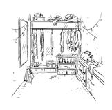 Walk-in closet, garderobe drawing. Royalty Free Stock Images