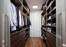 Walk-in closet in the hallway. Of a modern house royalty free stock photos