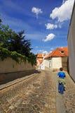 Walk the cobblestone street Stock Photo
