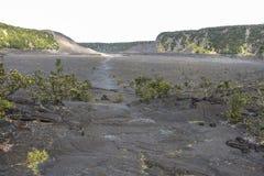 Walk on cold magma lake in Volcano National Park, Hawaii. Big Island Royalty Free Stock Photography