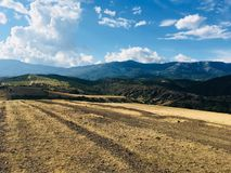 Walk in the Crimean mountains. Beautiful view , Incredible mountains.The game of colors and light and shadows closer to sunset Royalty Free Stock Image