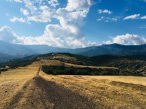 Walk in the Crimean mountains. Beautiful view , Incredible mountains.The game of colors and light and shadows closer to sunset Stock Image