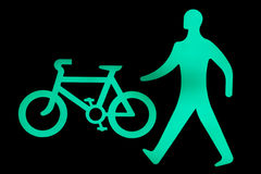 Walk and Cycle Sign. Showing safe to cross now Stock Photos
