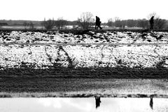 Walk on the dike Royalty Free Stock Image