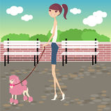 Walk with dog. A pretty girl walking her dog vector illustration