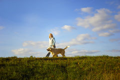 Walk with dog royalty free stock photo