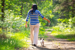 Walk with the dog. Beautiful brunette on the walk with the dog Stock Image