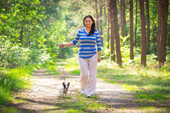 Walk with the dog. Beautiful brunette on the walk with the dog Stock Photography
